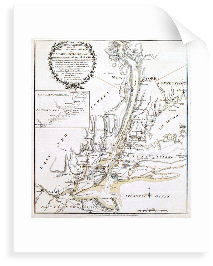 The Seat of Action between the British and American Forces or An Authentic Plan of the Western Part of Long Island with the engagement of the 27th August, 1776 by unknown