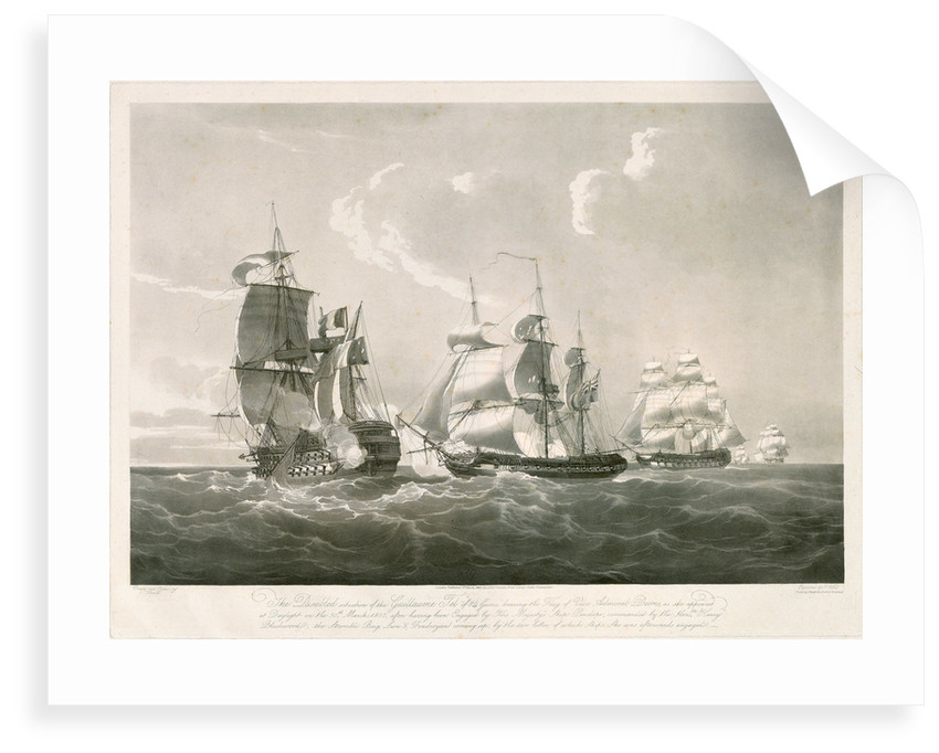 Engagement between the 'Guillaume Tel' and HMS 'Penelope', 30 March 1800 by Nicholas Pocock