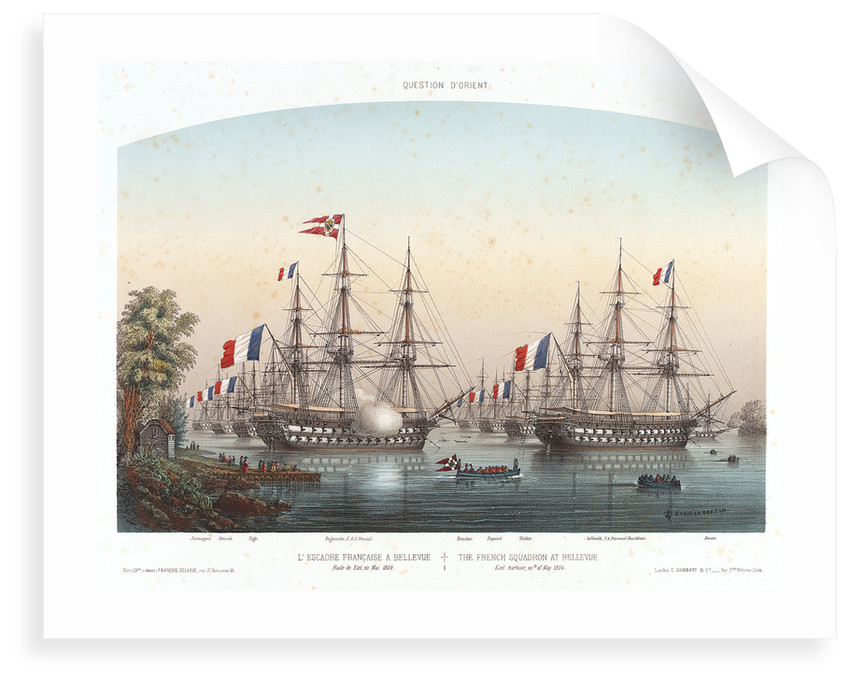 The French squadron at Bellevue, Kiel Harbour, 20 May 1854 by Louis Le Breton