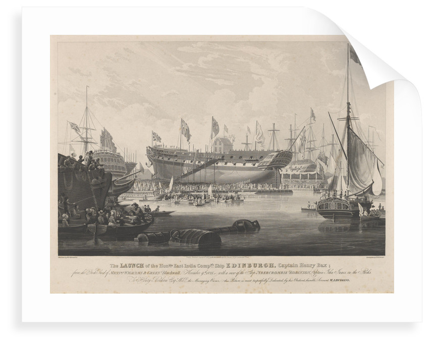 The Launch of the Honourable East India Company's Ship 'Edinburgh' from the dock yard of Messrs Wigrams & Green Blackwall with a view of the ship 'Abercrombie Robinson' on the stocks by William John Huggin