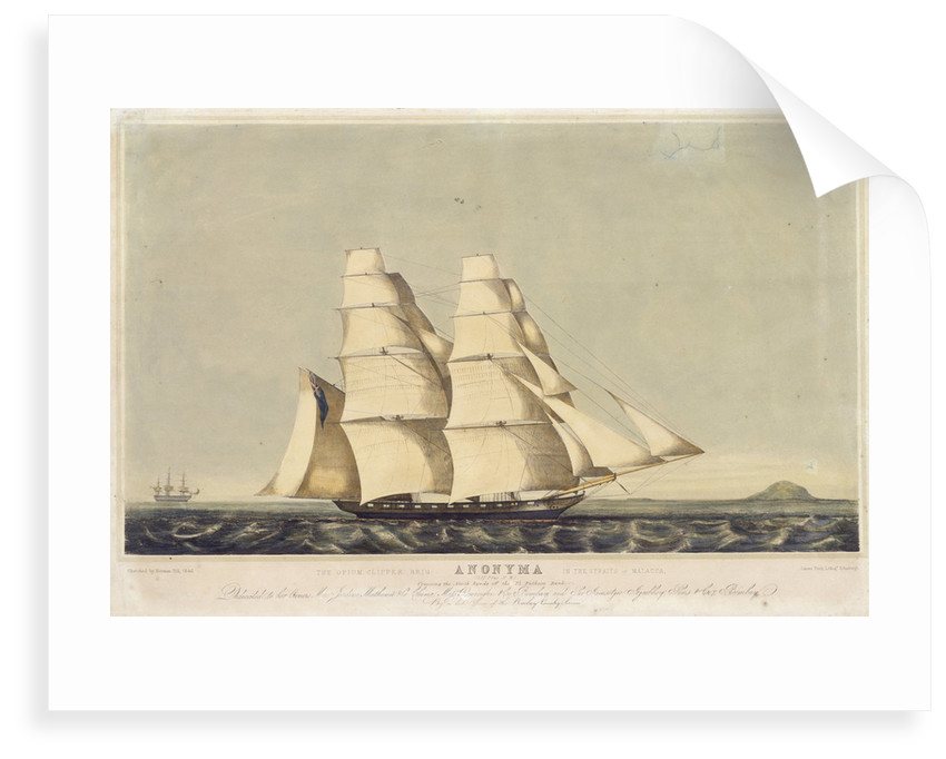The opium clipper brig 'Anonyma' in the Straits of Malacca by Norman Hill