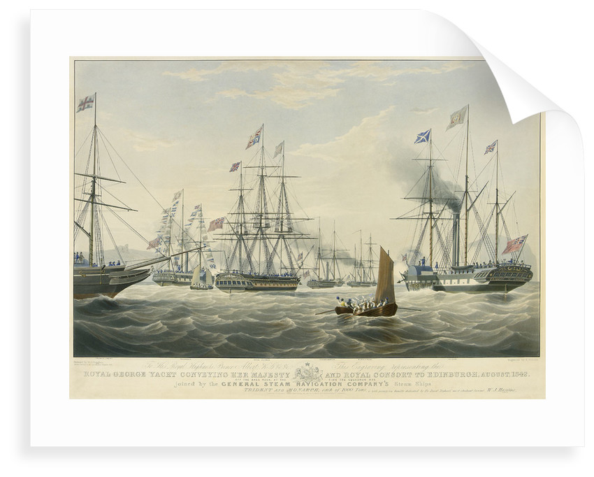 To... Prince Albert... This Engraving representing the Royal George Yacht conveying her Majesty and Royal Consort to Edinburgh, August, 1842 Off the Bass Rock... joined by General Steam Navigation... by William John Huggins