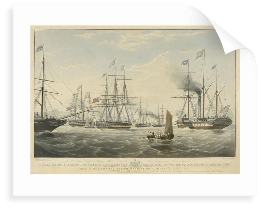 To... Prince Albert... This engraving represents the 'Royal George' Yacht conveying her Majesty and Royal Consort to Edinburgh, August, 1842 Off the Bass Rock... joined by General Steam Navigation... Ships 'Trident' and 'Monarch' by Edward Duncan