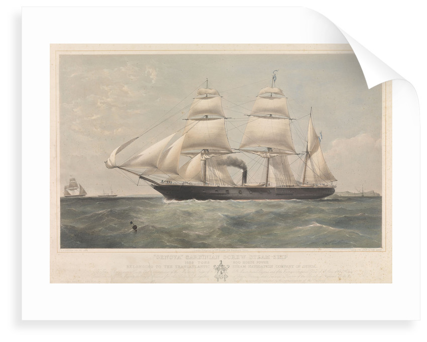 Sardinian screw steamship 'Genova' (It, 1859) belonging to the Transatlantic Steam Navigation Company of Genoa by Thomas Goldsworth Dutton
