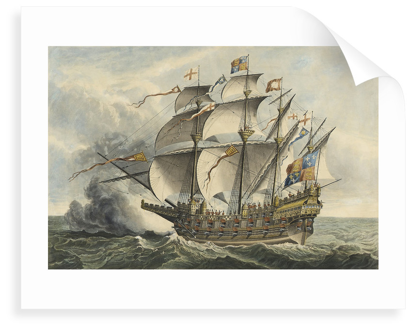 The Great Harry The first ship of War that carried Guns, built at Woolwich in the Reign of Henry VIII, 1514, and accidentally burned 1553... by Hans Holbein