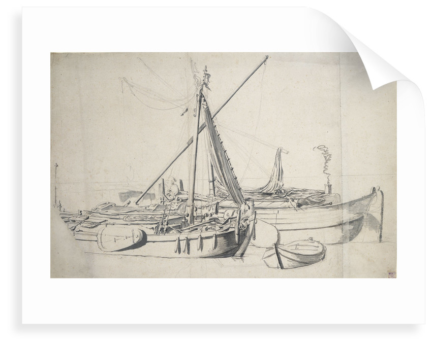 Study of a damlooper and a smalschip lying alongside one another by Willem van de Velde the Elder