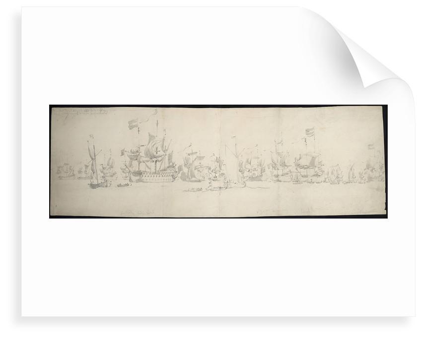 The council-of-war after De Ruyter's arrival in the Dutch fleet, 18 August 1665 by Willem van de Velde the Elder