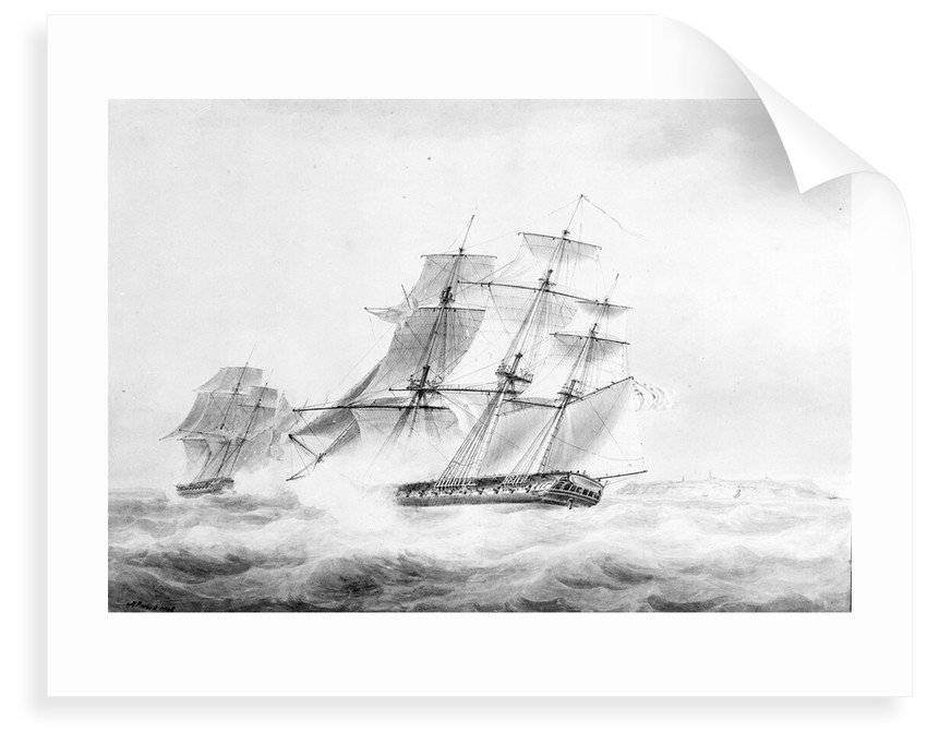 The 'Phoenix' in chase of the 'Didon', 18 August 1805 by Nicholas Pocock