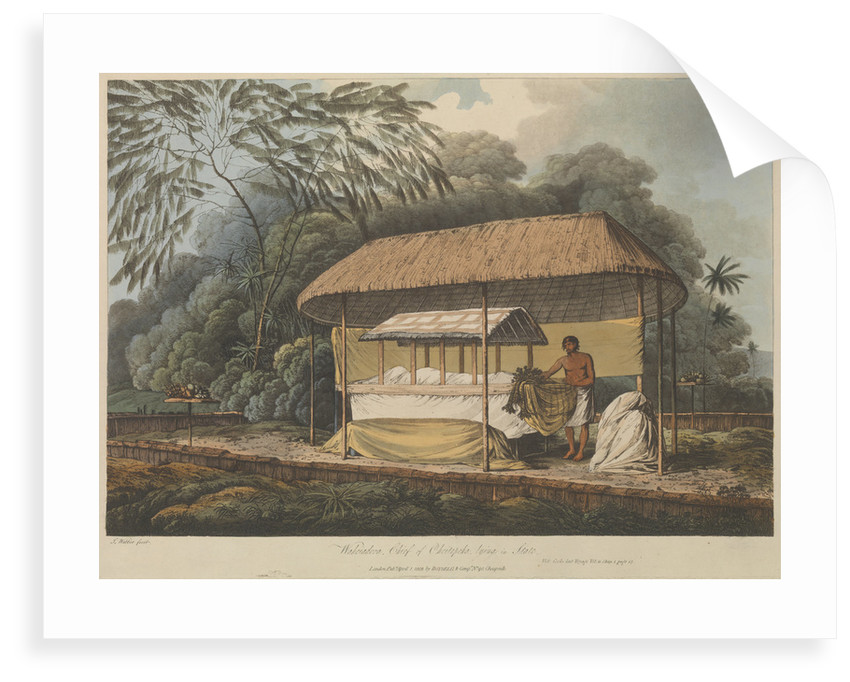 Views in the South Seas... Waheiadooa, Chief of Oheitepeha, lying in state by John Webber