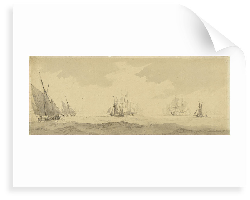 Small vessels in a fresh breeze with a distant fleet, circa 1673, with later additions by Charles Gore by Willem Van de Velde the Younger