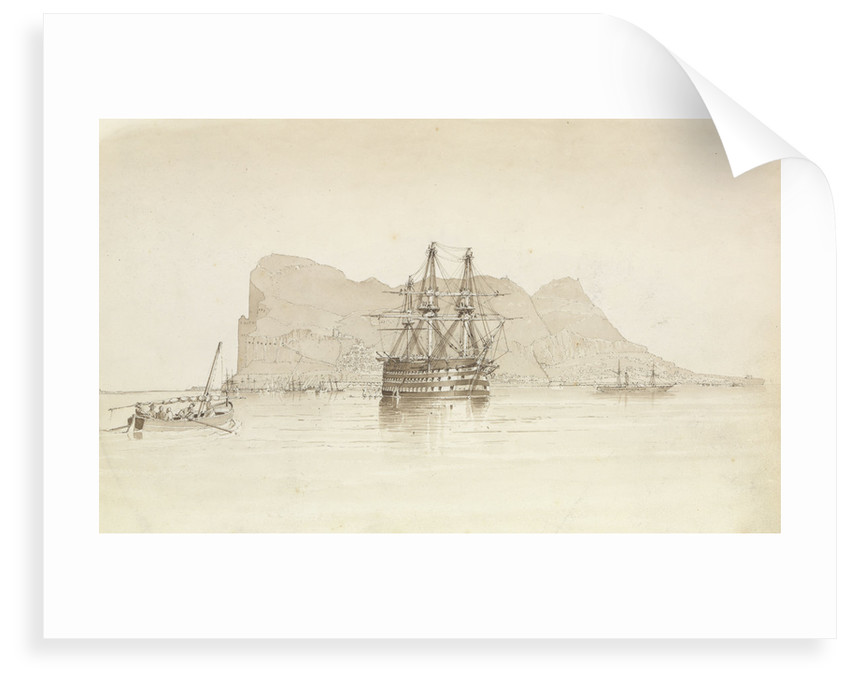 Gibraltar, with HMS 'Trafalgar' at anchor, a Spanish smuggling boat and the steamer 'Oberon', 26 August 1851 by George Pechell Mends
