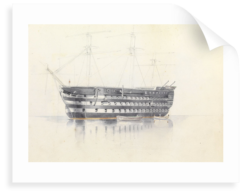 Study of HMS 'Queen' at Malta, 3 March 1852 by George Pechell Mends
