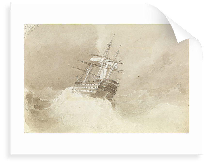 HMS 'Trafalgar' losing her rudder-head in a north-easterly gale off Malta, 1 February 1852 by George Pechell Mends