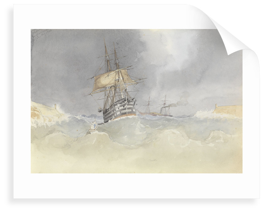 HMS 'Trafalgar' sailing into Malta Harbour with loss of  her rudder head after a gale, 9 February 1852 by George Pechell Mends