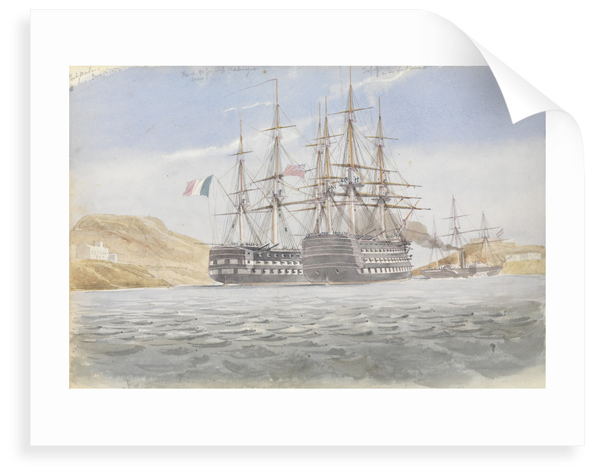 The 'Charlemagne' with 'Trafalgar' leaving Port Mahon under tow by 'Firebrand', 1 June 1822 by George Pechell Mends