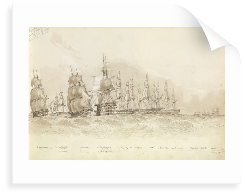 "Trial of sailing: 'Phaeton' the winner passing ""Trafalgar"" (the turning point), off Malaga, 17 July 1852 by George Pechell Mends"