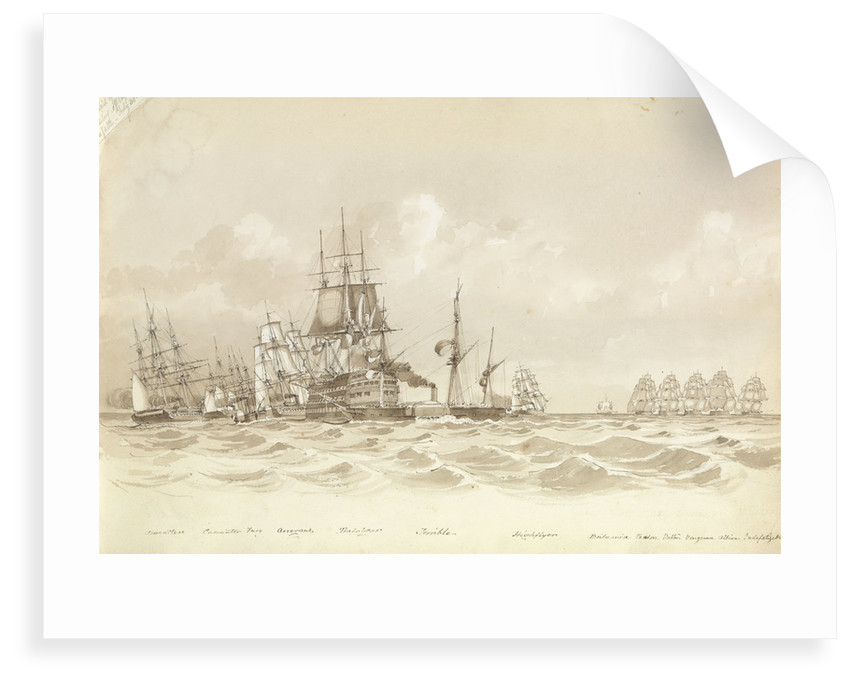 Trial of sailing off Cape de Galta [Cabo de Gata], 30 July 1852, 'Trafalgar' and 'Terrible' in the foreground by George Pechell Mends