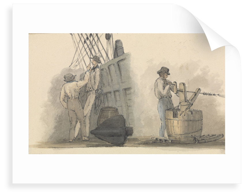 Two deck scenes, two men relaxing on deck, and a man working a winding handle fixed on a barrel by Robert Streatfeild