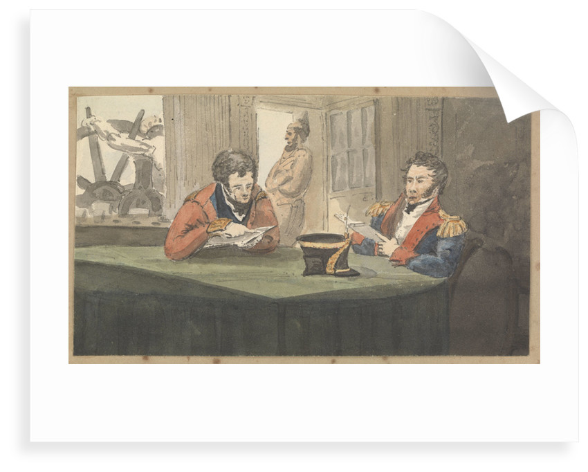 A cabin scene with two army officers sitting and reading at a table by Robert Streatfeild