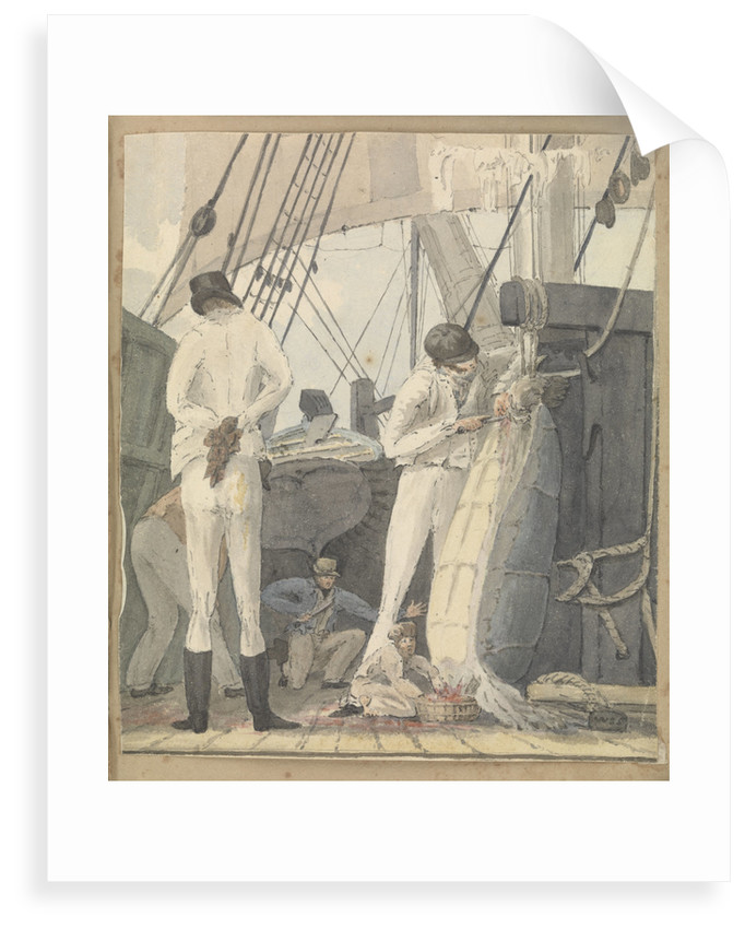 A deck scene with four men and a boy cutting open a turtle by Robert Streatfeild