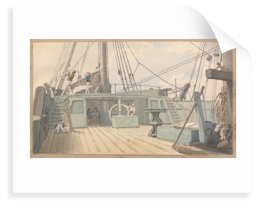 Deck scene, with man at the wheel, and another two taking sextant readings by Robert Streatfeild