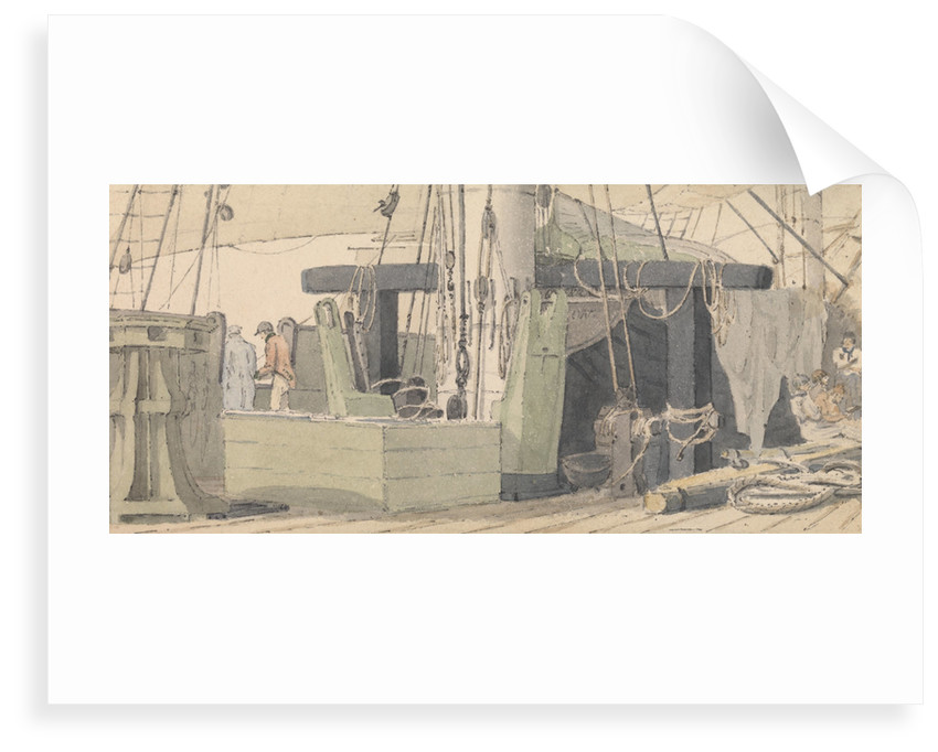 Deck scene showing capstan, mast and ropes, with sailors relaxing in the background by Robert Streatfeild
