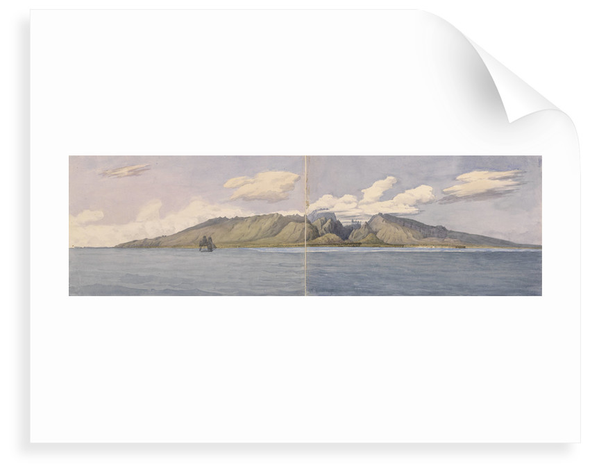 Tahiti [Society Islands]. The Ravine of Fautaua - Crown or Diademe Mountain in the centre of the Island, and the town of Papeiti, Augt 24th 1849 by Edward Gennys Fanshawe