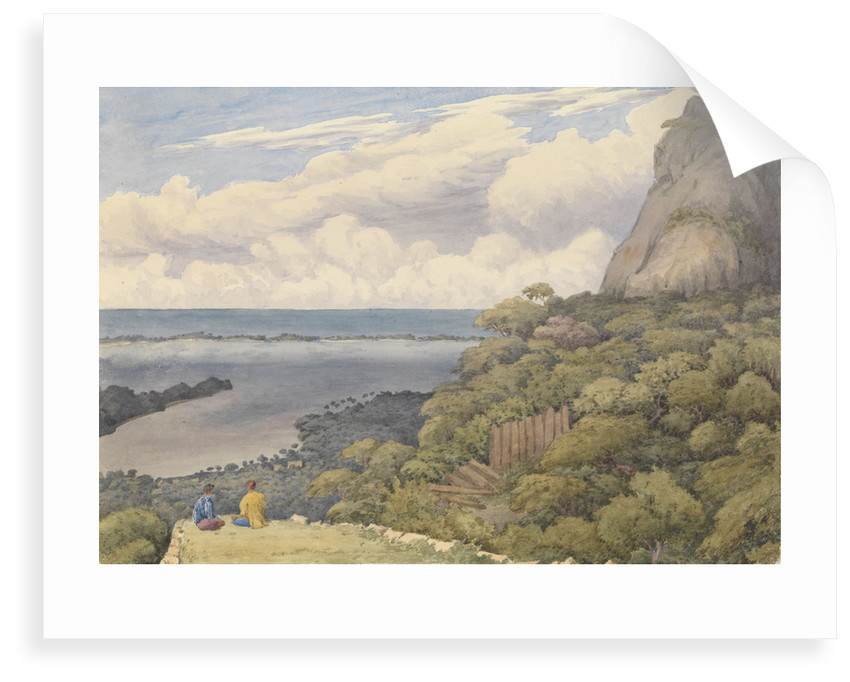Bora bora [Society Islands], from a ruined native fort above the chief village on the East side of the island, Septr 5th 1849 by Edward Gennys Fanshawe