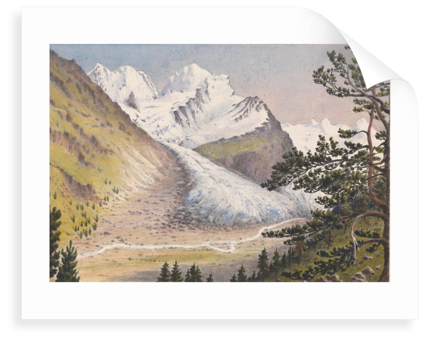 Piz Bernina, Scerscen, Roseg... Sella & Gluschaint and Tschierva &... Roseg Glaciers from the path leading to Alp Ota, 1880 [Switzerland] by Edward Gennys Fanshawe