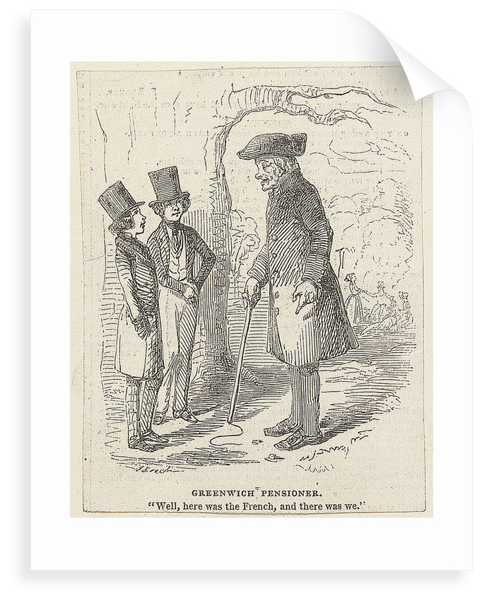 Greenwich Pensioner. 'Well, here was the French, and there was we.' by John Leech