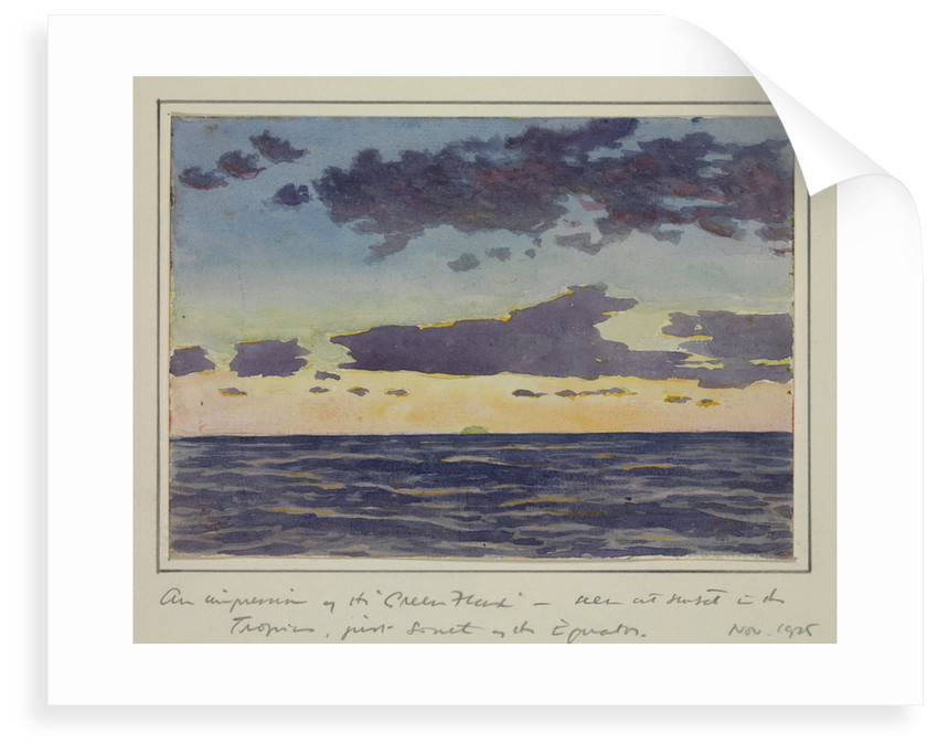 An impression of the ' Green Flash' seen at sunset in the tropics, just south of the equator, Nov 1925 by Sir Alister Hardy