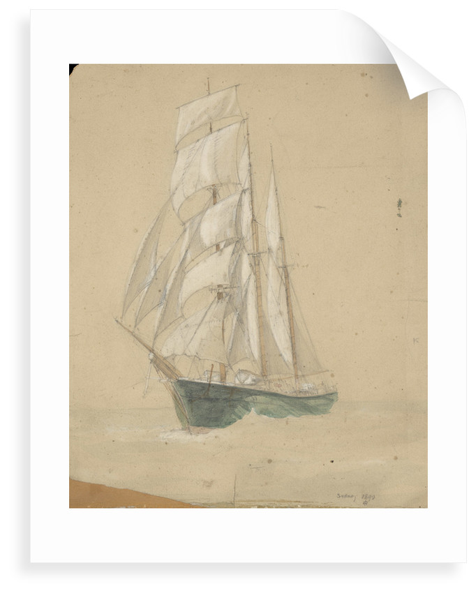 Three-masted sailing vessel in Sydney by John Everett