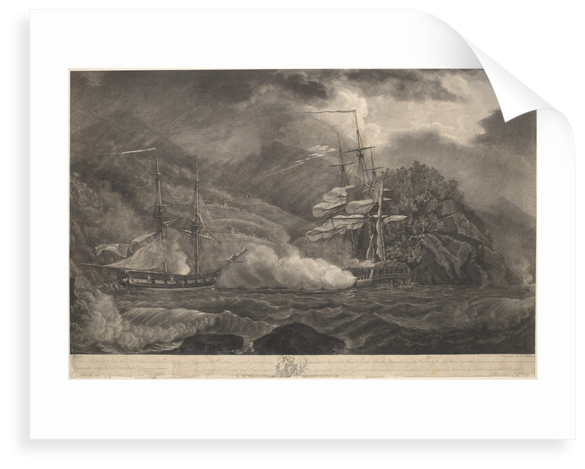 His Majesty's Ship the Mermaid on the 10th of Octr 1795, at Requin.... Grenada, run aground in Chase of the French Corvette Brutus.. to prevent the landing Ammunition by Nicholas Pocock; Robert Pollard; William Faden