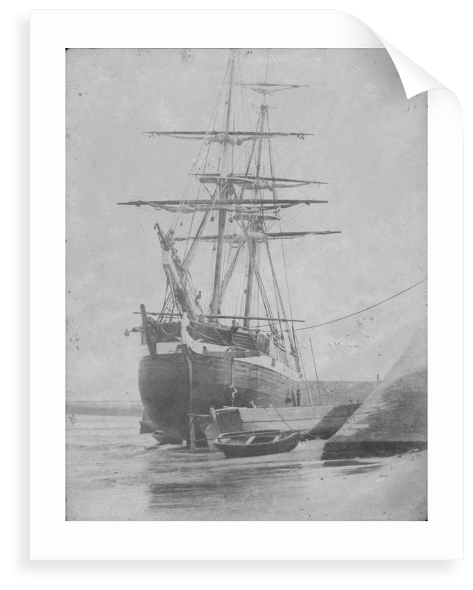 Port bow view of an unidentified brig dried out off the quayside, possibly at Swansea. Inversed digital file to create b&w positive by Calvert Richard Jones