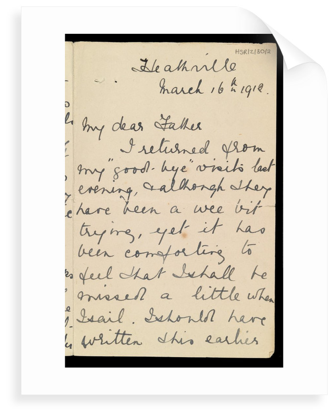 Letter from Marion Wright to her father, 16 Mar 1912, preparations for her voyage to New York on 'Titanic' by Marion Wright