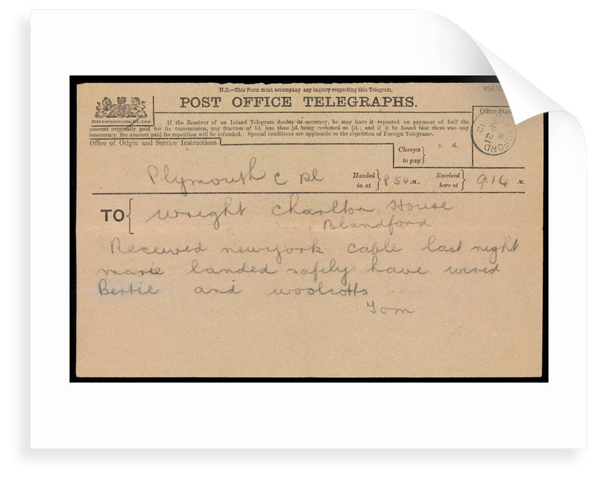 Telegram to Marion Woolcott's father, stating she had landed safely in New York following the 'Titanic' disaster by Marion Wright
