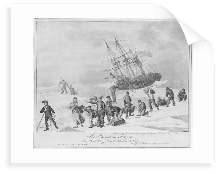 The frigate 'Proserpine', lost March 1799 off Newark Island in the Elbe by John Thomas Serres