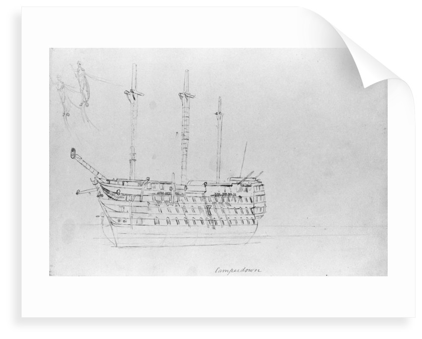 A sketch of HMS 'Camperdown' by Robert Strickland Thomas