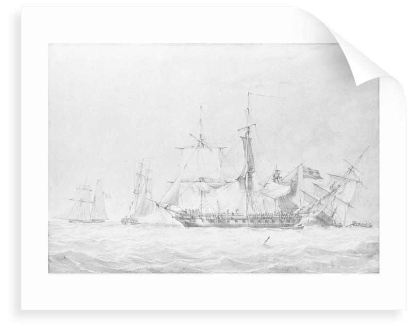 The corvette 'Bordelais' sinking a French man-of-war by John Cantiloe Joy