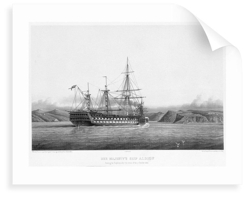 HMS 'Albion' entering the Bosphorus after the action of 17 October 1854 by E. Goodenough