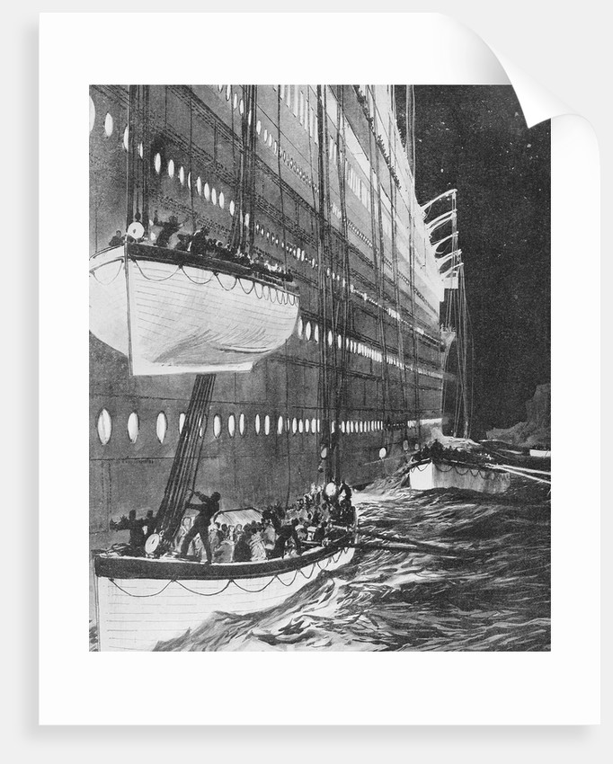 Starboard side of the 'Titanic' looking forward showing lifeboats leaving by Charles Dixon