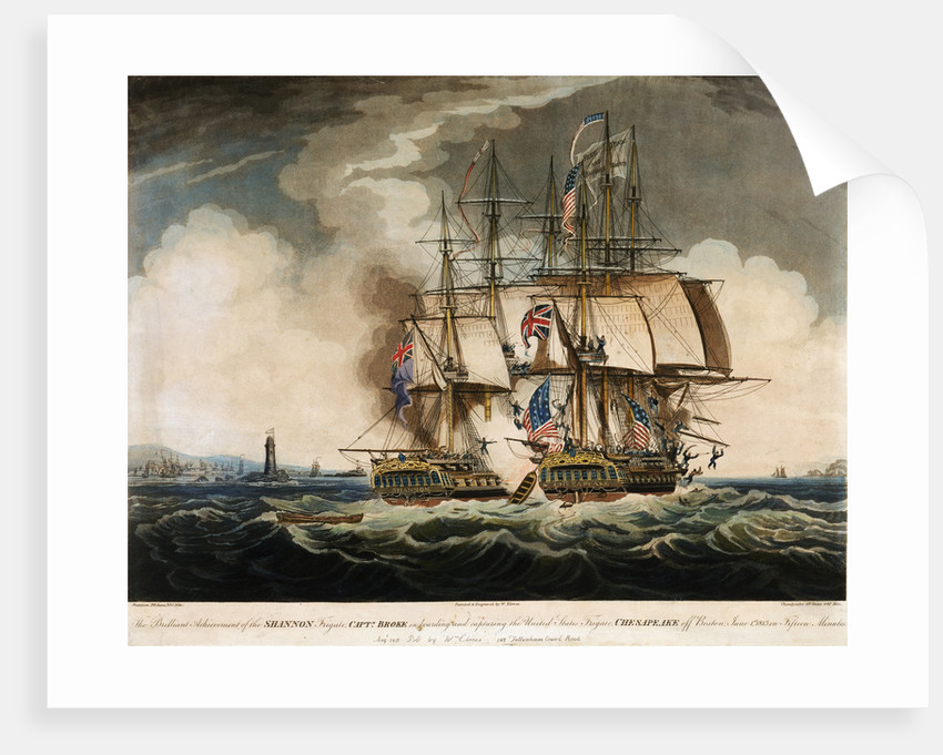 HMS 'Shannon' in battle with the American Frigate 'Chesapeake', 1 June 1813 by W. Elmes