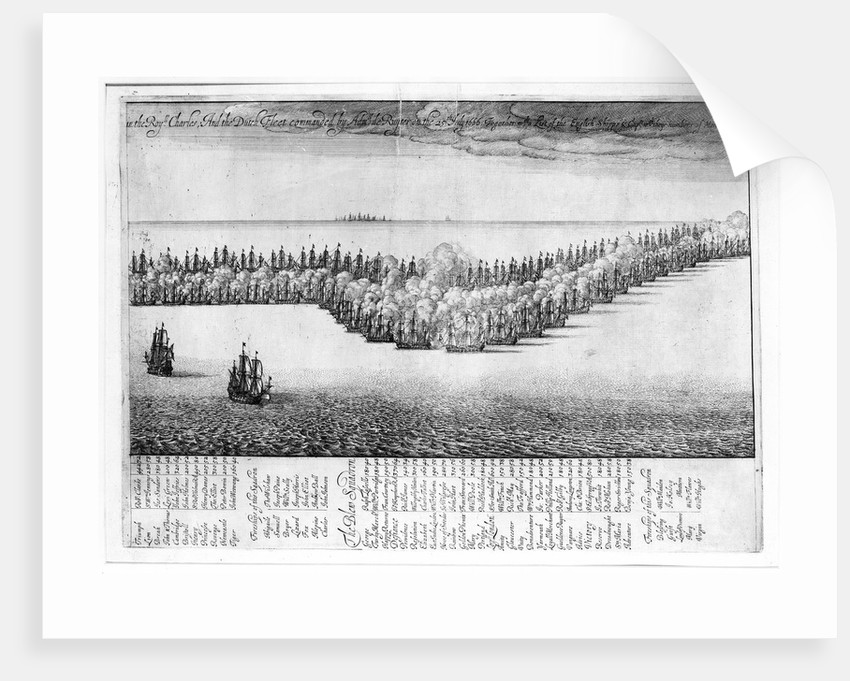 Battle between the English and Dutch fleets, 25 July 1666 by Wenceslaus Hollar