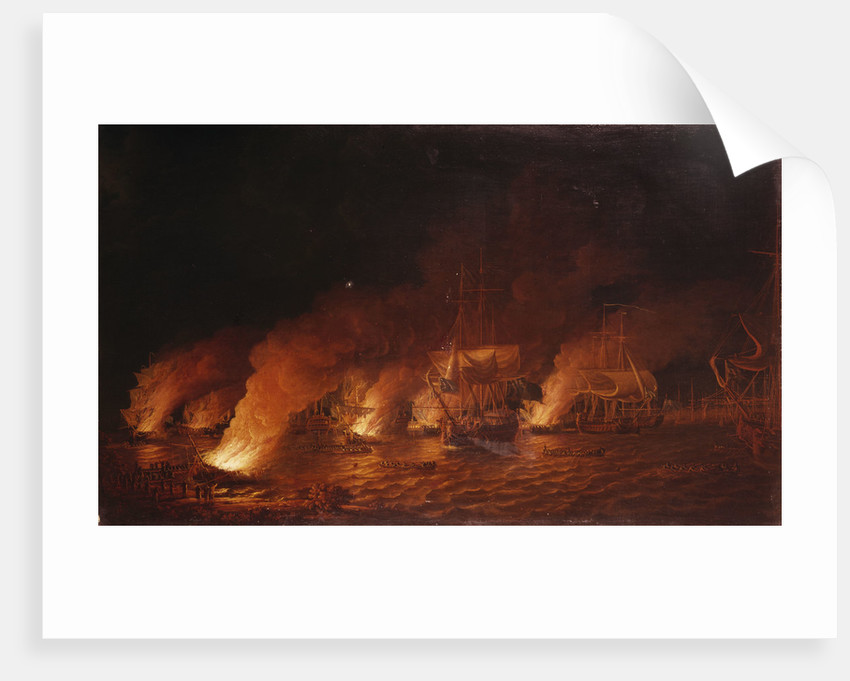 French fireships attacking the English fleet off Quebec, 28 June 1759 by Dominic Serres the Elder