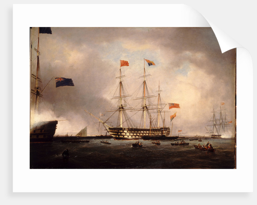 Queen Victoria's visit to HMS 'Queen' at Portsmouth, 1 March 1842 by Robert Strickland Thomas