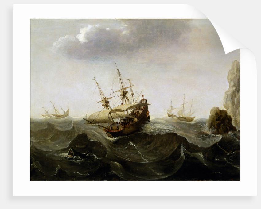 A ship in a rough sea by Cornelisz Verbeecq
