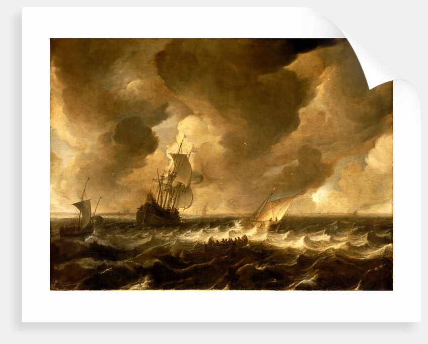 A flute and other vessels off the Dutch coast by Pieter de Zeelander