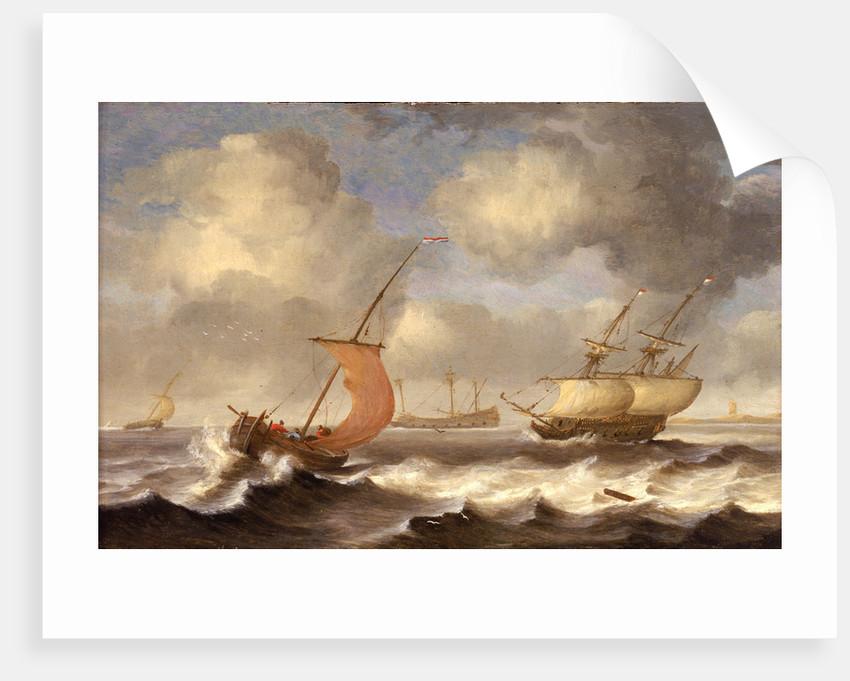 Dutch ships in a breeze by Monogrammist DW