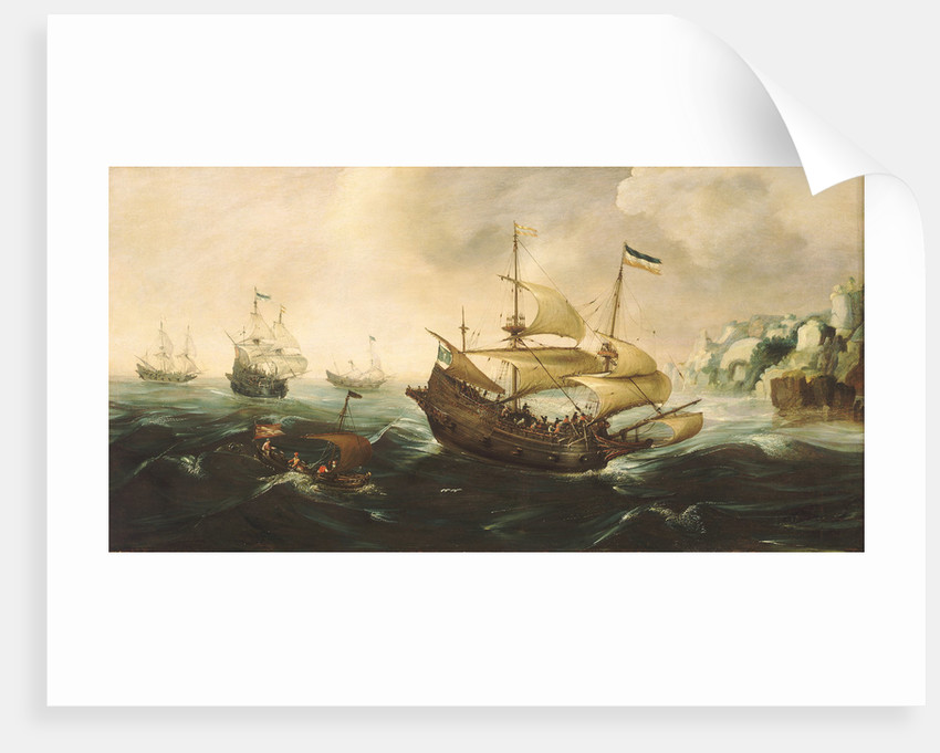 Dutch ships running down onto a rocky shore by Andries van Eertvelt