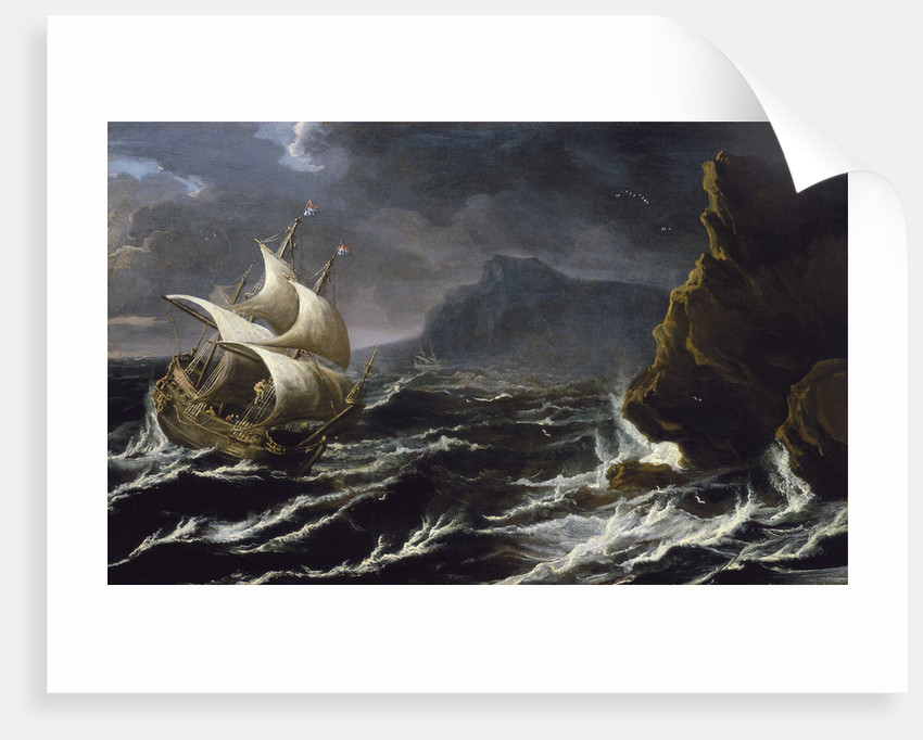 A Dutch ship running on to a rocky coast by Matthieu van Plattenberg
